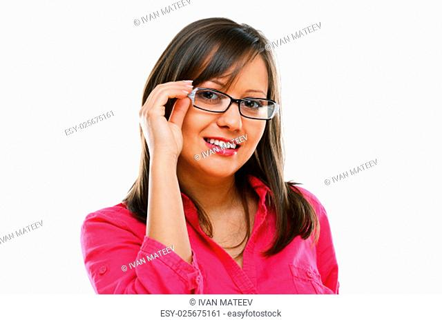 Woman with eyeglasses isolated on white