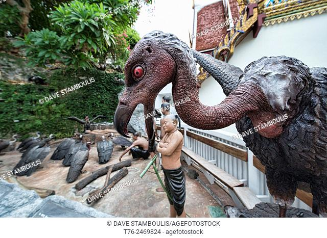 Vulture statue at Wat Saket (The Golden Mount) in Bangkok, Thailand