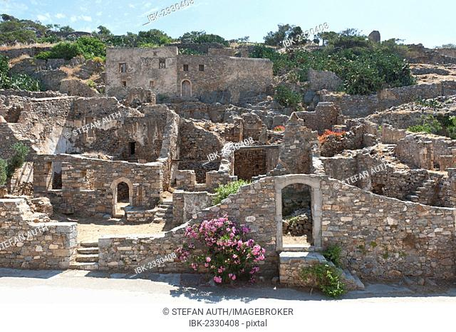 Historic site, ruins, abandoned village, Spinalonga island, formerly used as a leper colony, near Elounda, Crete, Greece, Europe