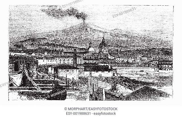 Mount Etna in Sicily, Italy, during the 1890s, vintage engraving  Old engraved illustration of Mount Etna as viewed from Catania City