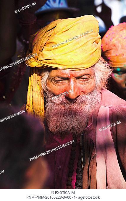 Close-up of a sadhu during Holi festival, Barsana, Uttar Pradesh, India