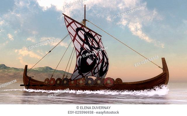 Drakkar on the water next to the coast by day - 3D render