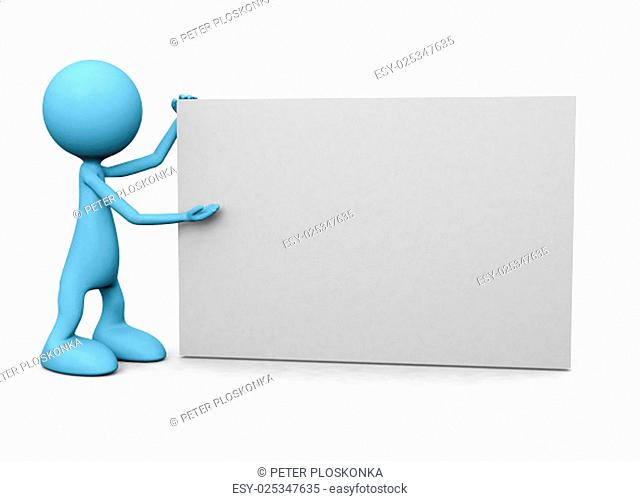 3D guy with empty board on white background