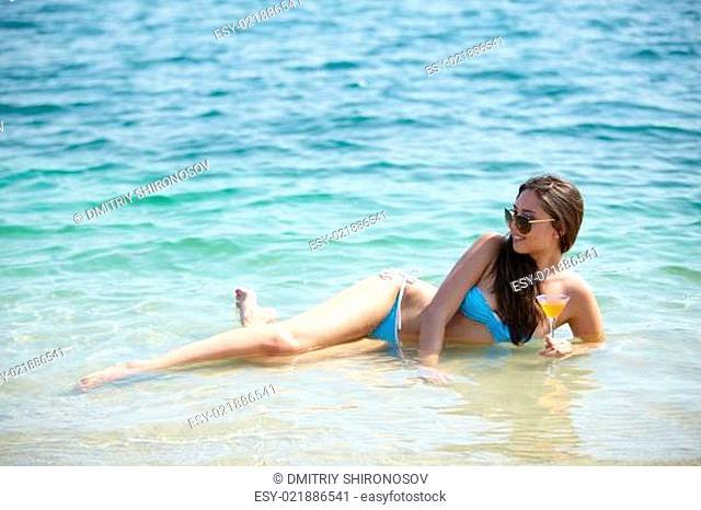 Brunette on vacation