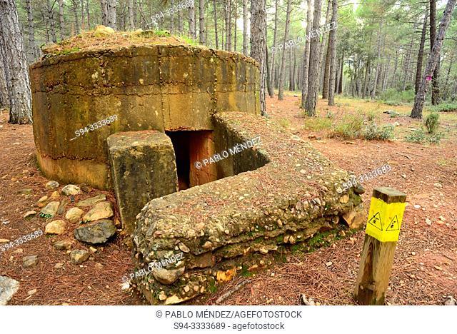 "Route ""Water Battle Front"" of the Spanish Civil War. Machine gun nest. Paredes de Buitrago, Madrid, Spain"