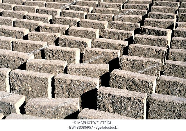 adobe bricks drying in the sun, Bolivia