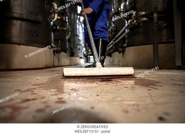 Worker cleaning floor at a wine estate