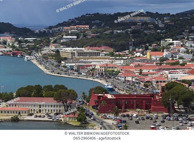 U. S. Virgin Islands, St. Thomas, Charlotte Amalie, elevated town view with Kings Wharf and Legislative Building