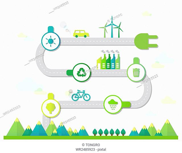 Infographic diagrams of plug with icons related to environmental protection and ecological alternative green energy