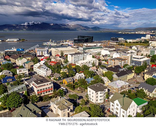 Neighborhood in Reykjavik, Iceland. This image is shot using a drone