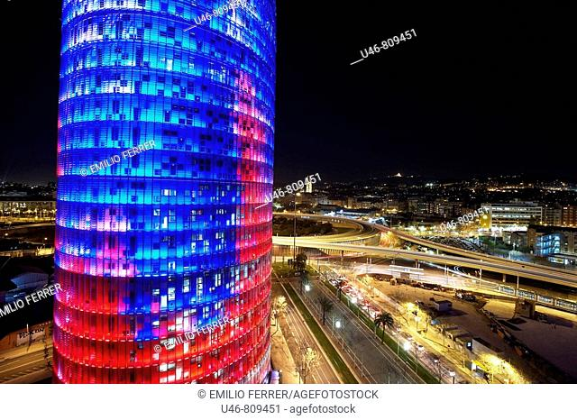 Agbar Tower by Jean Nouvel, Barcelona. Catalonia, Spain
