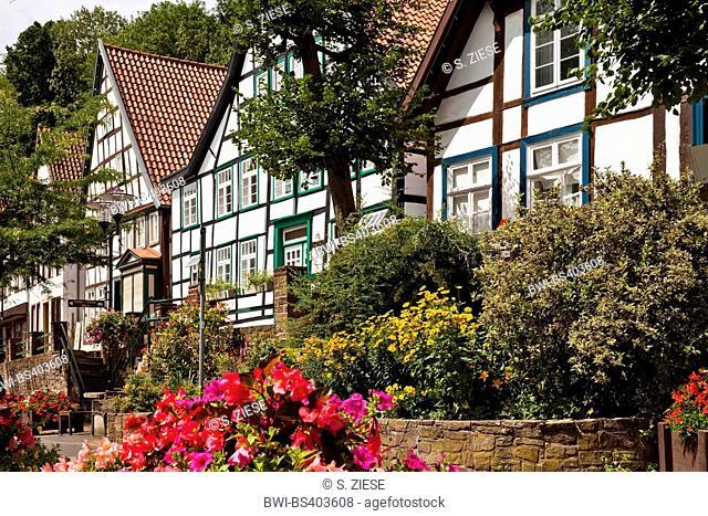Vlothoer Brink, timber framed houses in the old town, Germany, North Rhine-Westphalia, East Westphalia, Vlotho