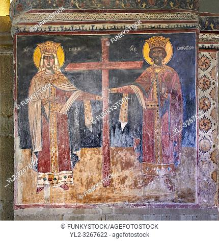 Pictures & images of the interior medieval fresco depicting a Georgian King and Queen. The Eastern Orthodox Georgian Svetitskhoveli Cathedral (Cathedral of the...