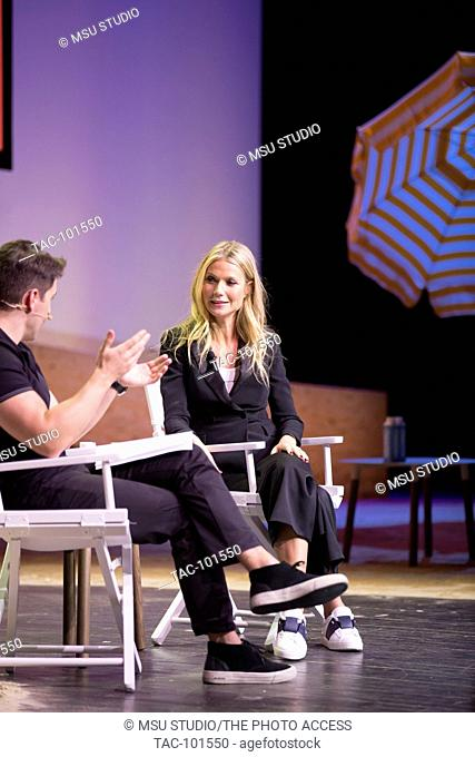 Brian Chesky, co-Founder & Chief Executive Officer, Airbnb and actress Gwyneth Paltrow, meet onstage at the 3rd Annual Airbnb Open Spotlight at the Los Angeles...
