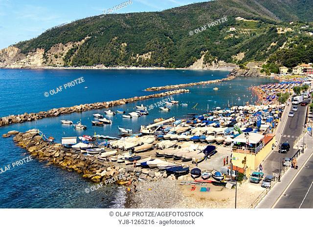 View over the beach of th small coastal village Moneglia a populare tourist destination in the Ligurian Coast, North West Italy