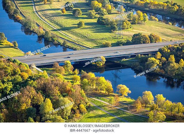 Highway Bridge A43, Lake Kemnade between Heven and Herbede, Ruhr Valley, Ruhr district, Witten, Ruhr district, North Rhine-Westphalia, Germany