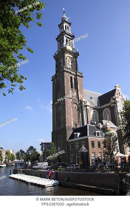 Westerkerk church by Prinsengracht canal Amsterdam Holland