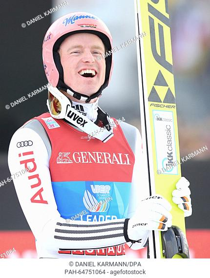 Severin Freund of Germany reacts after his jump duirng the second stage of the Four Hills ski jumping tournament in Garmisch-Partenkirchen, Germany