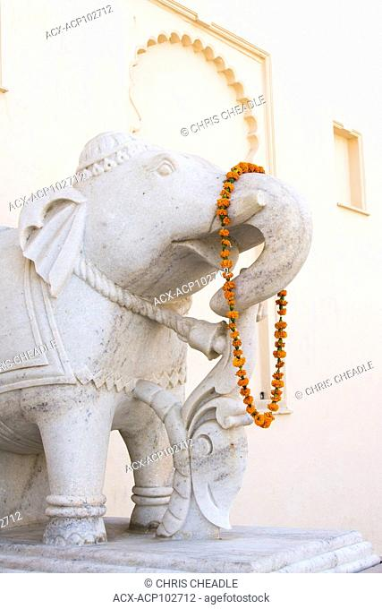 Carved elephant at he Oberoi, Udaivilas in Udaipur, Rajastan, India