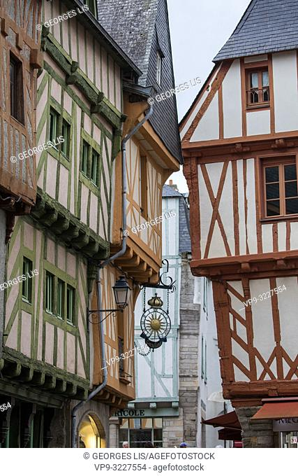 ancient houses, colombage, wood half timbering frontage, historic district, Vannes, Morbihan, Bretagne France