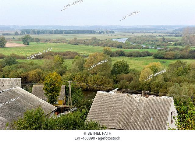 View over houses to river plain, Narew National Park, Podlaskie Voivodeship, Poland