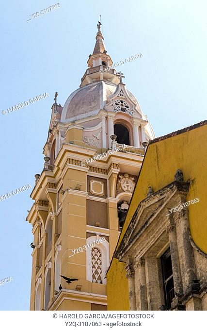Dome of the Cathedral Basilica of St. Catherine of Alexandria in the ancient walled city of Cartagena de Indias. UNESCO's historical heritage of humanity