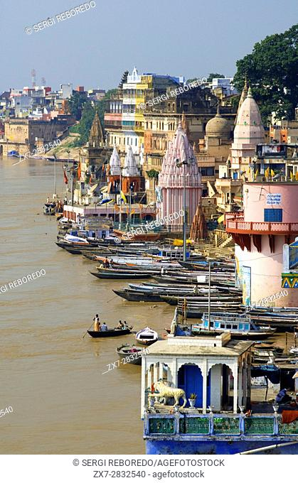 Ghats on the banks of Ganges river in holy city of Varanasi. Varanasi, Uttar Pradesh, India. Varanasi Ghats are perhaps the most holiest place in the world