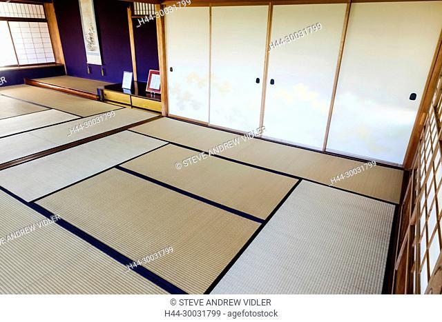 Japan, Honshu, Shizuoka Prefecture, Atami, Kiunkaku Ryokan Museum, Tatami Floor Guest Room