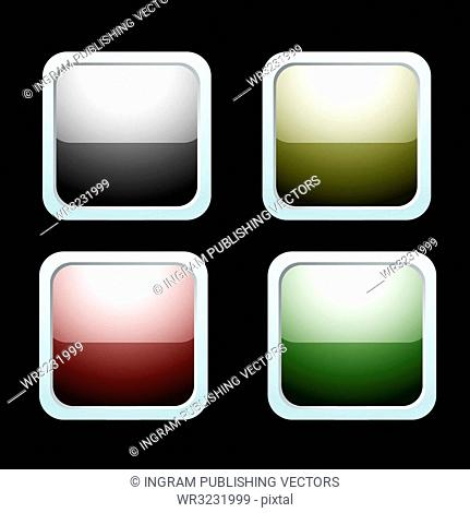 four icons with light reflection and silver bevel and black background