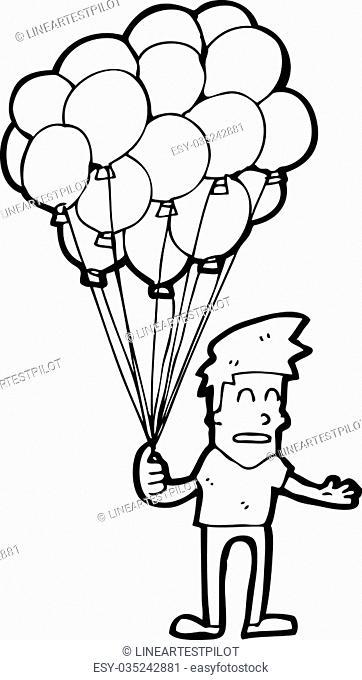 Drawing Of Balloons Seller
