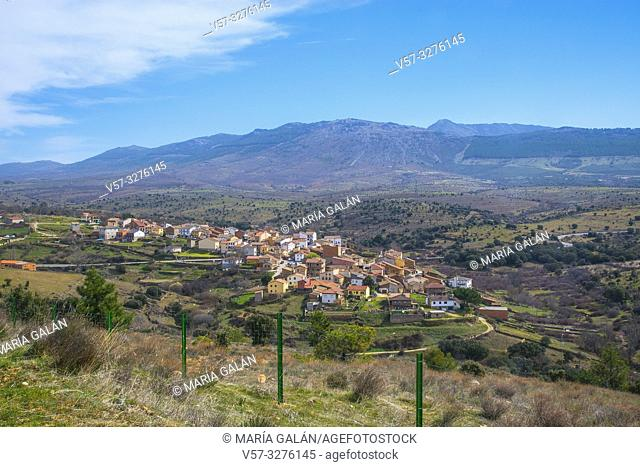 Overview and Sierra del Rincon. Paredes de Buitrago, Madrid province, Spain