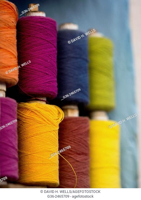 Stack of thread reels in  Chhatrasager, Rajasthan, India