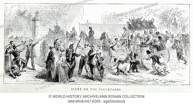 Engraving depicts a street scene on the Boulevards. Dated 1870