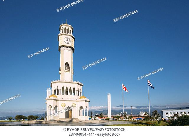 Batumi, Adjara, Georgia. Chacha Tower Is Local Landmark Attraction. The Tower Is Surrounded By 4 Fountain Pools With Chacha