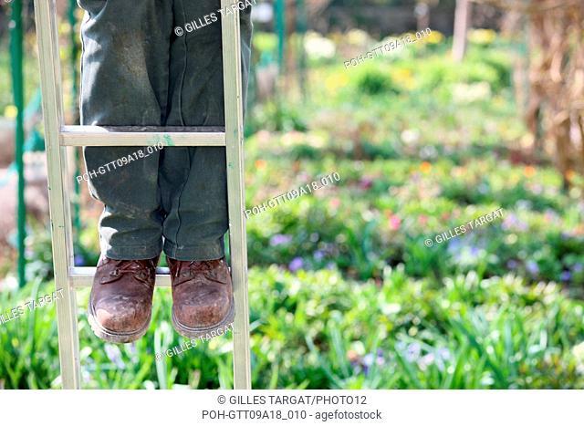 tourism, France, upper normandy, eure, vallee de la seine, valley, giverny, claude monet house, garden, flowers, impressionnists, painting, gardener, ladder