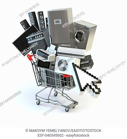 Home appliances in the shopping cart and cursor. E-commerce or online shopping concept. 3d