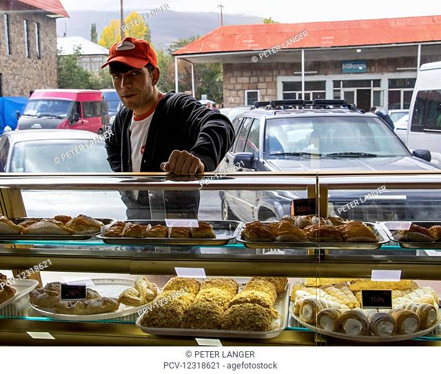 Pastries for sale at the Gntunik Bakery; Aparan, Aragatsotn Province, Armenia