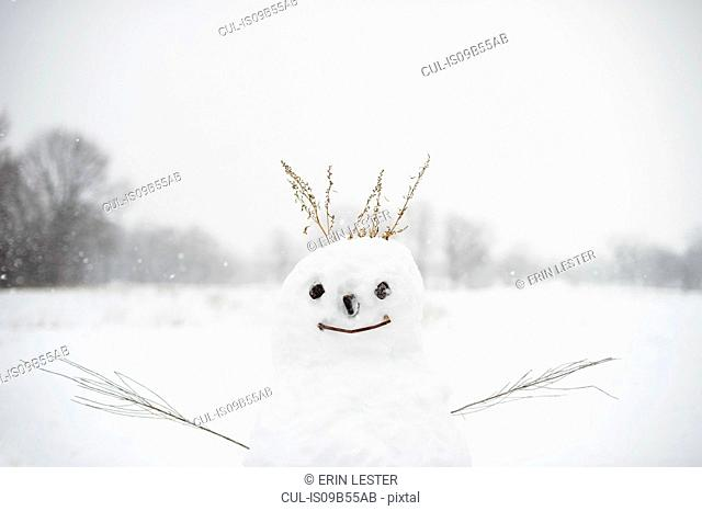 Snowman in snow-covered field