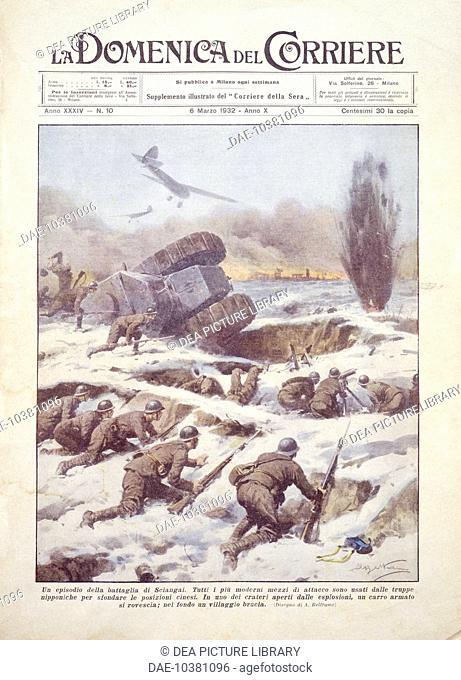 Sino-Japanese War (1894-1895), 19th century - Clashes in Manchuria, 1932. Cover illustration from La Domenica del Corriere