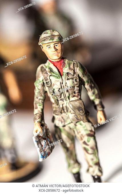 Tiny miniature vintage spanish army soldier figurine standing