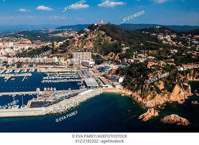 Port and Castle of Sant Joan in Blanes. Costa Brava