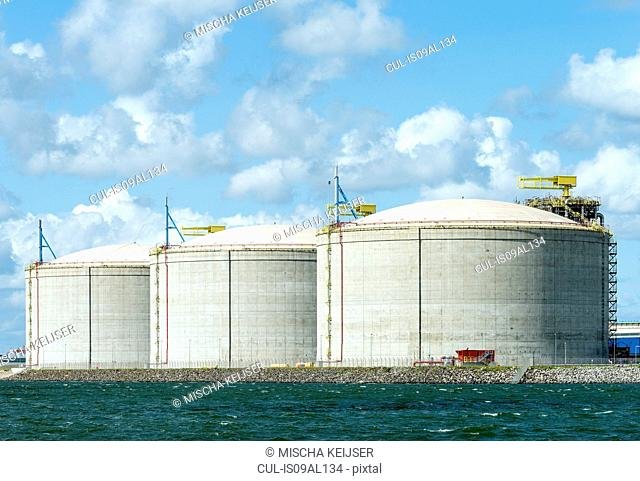 Huge tanks for LNG or liquid natural gas, in the rotterdam harbour