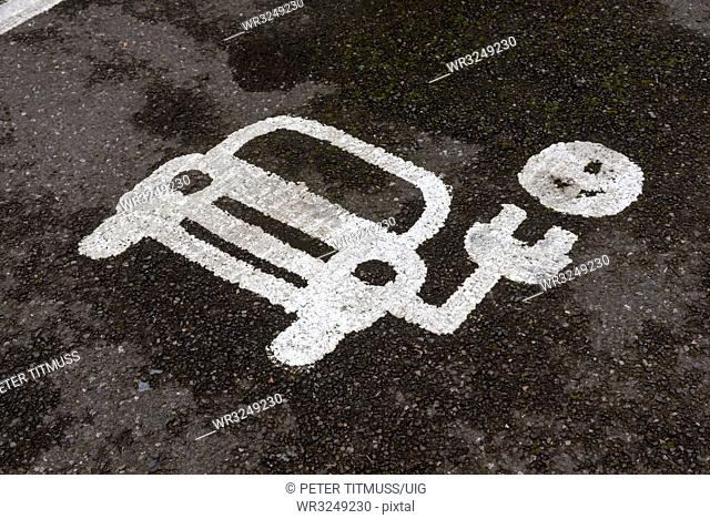 Painted Parking spot for recharging electric vehicles