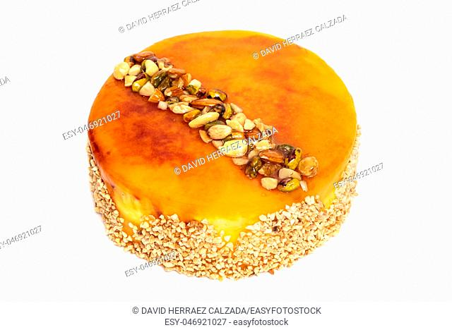Delicious cake with nuts isolated on white background
