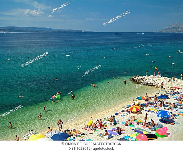 Beach Full of Holiday Makers on Vacation Next to the Adriatic Sea, Baska Voda, Dalmatian Coast, Croatia, Europe