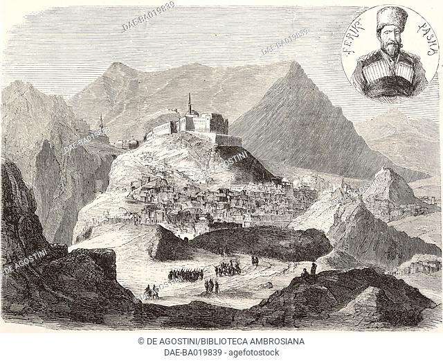 The city and fortress Bajaz, Armenia, engraving from L'Illustrazione Italiana, No 30, July 29, 1877