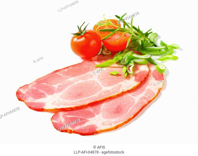 Slices of smoked pork neck