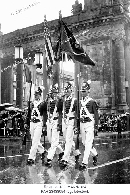 A flag group of the US Army, in American uniforms of the 19th century, marching during a parade on occasion of the 'Armed Forces Day' on 18th May 1968 in front...