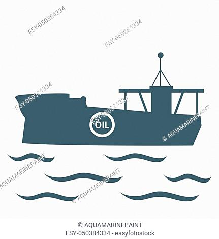 Stylized icon of the tanker of oil floating on waves on a white background