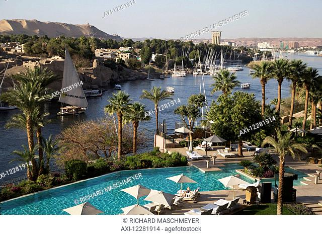 Old Cataract Hotel swimming pool on the Nile River; Aswan, Egypt